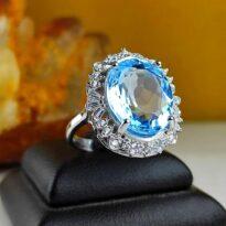 انگشتر جواهری نقره توپاز آبی