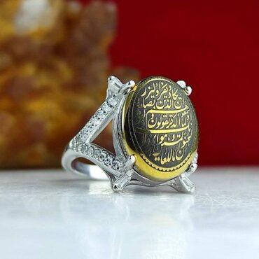 انگشتر جواهری نقره با نگین حدید