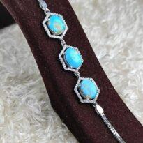 دستبند جواهری نقره با نگین فیروزه