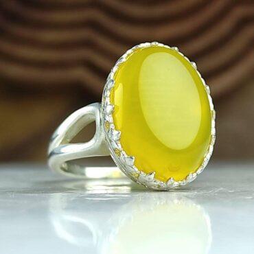 انگشتر جواهری نقره عقیق شرف شمس