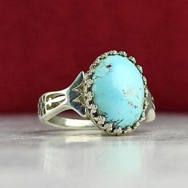 انگشتر جواهری نقره با نگین فیروزه