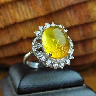انگشتر جواهری نقره کهربای لهستانی