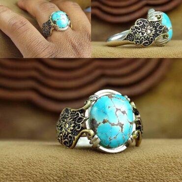 انگشتر جواهری نقره فیروزه نیشابور اصل