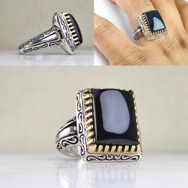 انگشتر جواهری نقره با عقیق مشکی