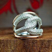 انگشتر جواهری نقره نگین اتمی